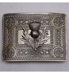 Scottish Antique Celtic Design Buckle With Thistle Badge