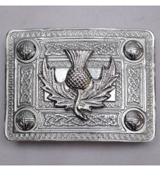 Scottish Chrome Celtic Design Kilt Buckle With Thistle Badge