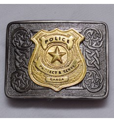 Scottish Celtic Design Antique Buckle With Brass Police Protect & Serve Garda Badge