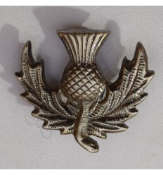 Scottish Thistle Brass Antique Metal Badge