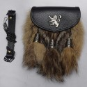Semi Dress Gray Antique Rampart Lion and Cups with Brown Fox Furr Sporran