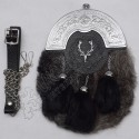 Full Dress Chrome Plated Cantle with Gray Multi Furr Stage line badges Sporran