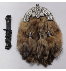 Full Dress Gray Antique Cantle with Matching Cups Brown fox furr Sporran