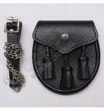 Youth Black Real Leather Sporran With Three hand Made Tessels