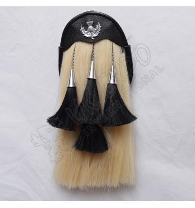 White Horse Hair with 4 Black Tessls Larg Thistle on Flap