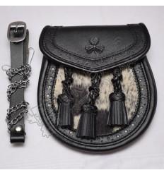 Semi Dress Black Sporran Three Tassels and black Color Shamrock on Flap