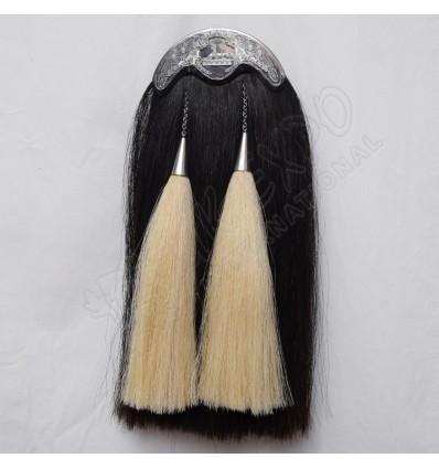 Scottish Black Long Horse Hair Sporran With Highlander Egypt Cantle
