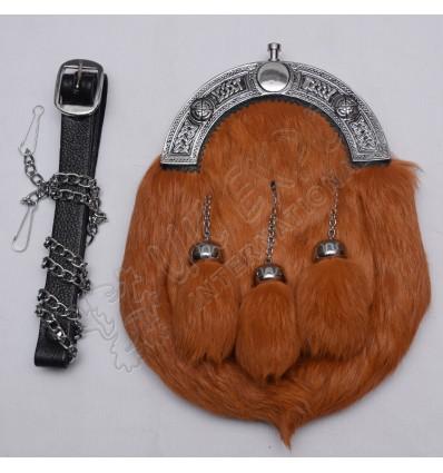 Scottish Brown Rabbit Furr Sporran With Celtic Design Cantle Black Color Filling