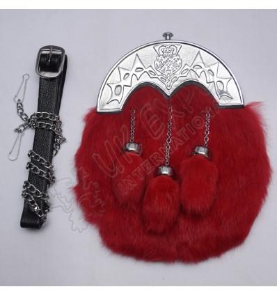 Red Color Rabbit Fur Sporran