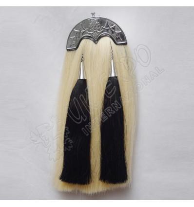 White Horse Hairs Sporran with Scottish Flower Cantle Black Horse hair Tassels