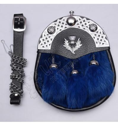 Blue Rabbit Fur with Celtic Cantle