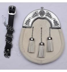 Scottish White Goat Skin Sporran With Celtic Design Cantle Black Color Filling