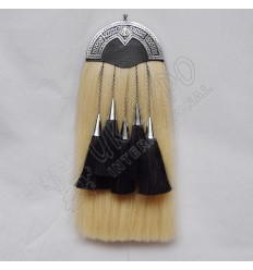 Scottish White Horse Hair Sporran Dimond Shap Thistle Cantel Black Color Filling