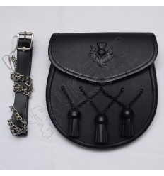 Scottish Black Leather Sporran With Black Color Thistle Badge