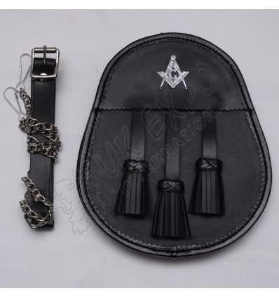 Scottish Black Leather Day Wear Sporran With Masonic Badge