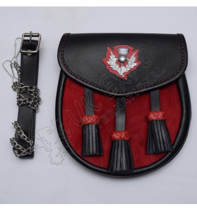 Scottish Black Leather and Artificial Red Furr Sporran With Thistle Badge on Flap