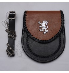 Scottish Black and Brown Leather Sporran With Rampart Lion Badge On Flap