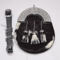 Scottish Goat Skin Sporran With Celtic Design Cantle & Three Tassels