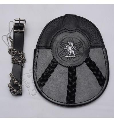 Scottish Black Leather Celtic Design Sporran With Rampart Lion Badge