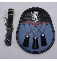 Blue Rampart lion Day Wear Sporran With Three Cross Tassels