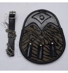 Scottish Black Celtic Semi Dress Sporran Front Tiger Skin