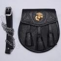 Scottish Black Grain Leather Celtic Design Sporran With US Marine Badge