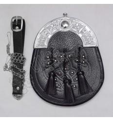 Scottish Black Leather Celtic Design Sporran With Studs and Celtic Design Cantle