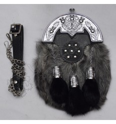 Gray Multi Fur Full Dress Chrome Plated Scottish Thistle Cantles Sporran