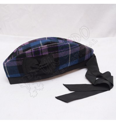 Black Glengarry Hat with Royal Stewart Tartan dicing and Red pom
