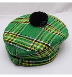 Irish National Tartan Military Bonnet Hat with Black Pom Pom