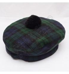 Black Watch Tartan Military Bonnet Hat with Black Pom Pom