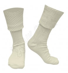 Diamond Cuff Men Cream Color Scottish Highland Wear Kilt Hose Socks