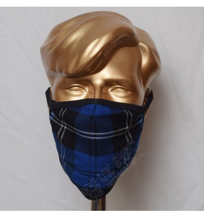 Dark Ramsay Blue Tartan Scottish Style Mask