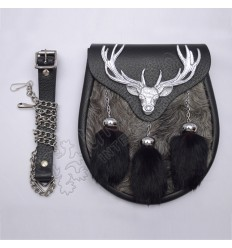 Chrome Plated Stag Semi Dress Gray Fur With Black Leather and Three Black Fur Tassels