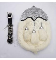 Full Dress Chrome Plated Stag Cantle White Rabbit Fur Sporran