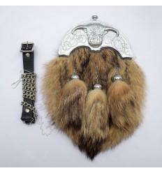 Coo Ox Chrome Cantle With Brown Fox Fur Full Dress Sporran