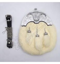 Full Dress Chrome Plated Coo Ox Cantle White Rabbit Fur Sporran