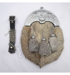 Full Dress Chrome Plated Coo Ox Cantle Gray Rabbit Fur Sporran