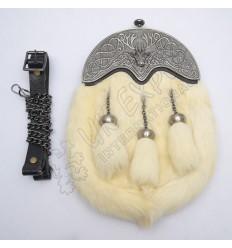 Full Dress Antique Stag Cantle White Rabbit Fur Sporran
