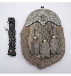 Full Dress Antique Stag Cantle Gray Rabbit Fur Sporran