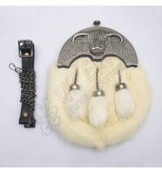 Full Dress Antique Coo Ox Cantle White Rabbit Fur Sporran