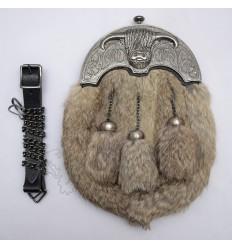 Full Dress Antique Coo Ox Cantle Gray Rabbit Fur Sporran