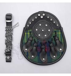 Celtic Clan Tartan Leaf With Knots Leather Semi Dress Sporran