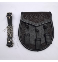 Laser Celtic Embossed Black Leather Sporran