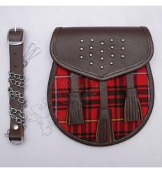 Gladiator Tartan Leather Sporran Brass Studs on Flap Brown leather with Clan Tartan