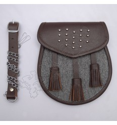 Gladiator Tartan Leather Sporran Brass Studs on Flap Brown leather with gray Fabric
