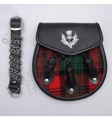Black Leather Thistle Badge on Flap Three Leaves Clan Tartan Tartan Leather Sporran