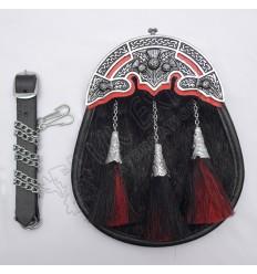 Full Dress Sporrans Multi Color Horse Hair Three Tessels Engraved Cups Scottish Flower