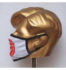 White With Red BasketBall Stylish Sublimated Cotton Mask