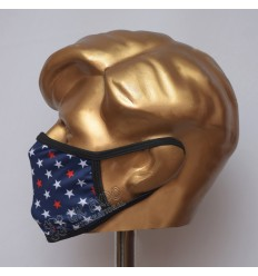 Blue With White and Red Star Sublimated Cotton Mask